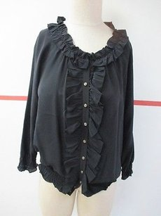 Joie Ruffle Neckline Silk Button Front U002 Top Black
