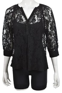 Joie Womens Lace Textured 34 Sleeve Casual Shirt Top Black