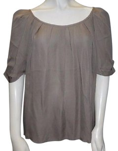 Joie 100 Silk Short Sleeved Scoop Neck Eleanor Hs3090 Top Brown