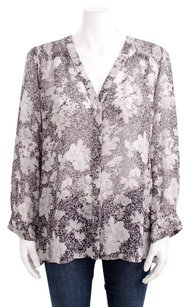 Joie Cordia Print Silk Top Gray