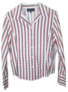 Jones New York Button Down Shirt red white black stripes