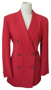 Jones New York Jacket Red Double Breasted Crepe Cardigan