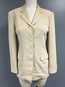Jones New York Jones York Brown Collared Pinstripe Button Blazer W Pockets Sma10937