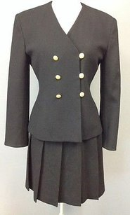 Jones New York Jones York Black Wool Button Front Blazer Pleat Skirt Suit Set Sma 4171