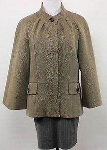 Jones New York Jones York Womens Brown Herringbone Blazer Long Sleeve Basic Jacket