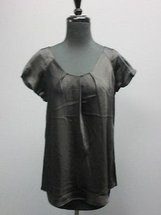 Jones New York Silk Bubble Sleeve Scoop Neck Pleat Sm8216 Top Black