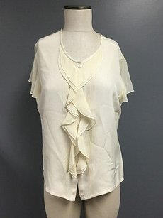 Jones New York Silk Ruffle Detail Short Sleeve Button Shirt Sma1503 Top Ivory