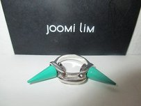 Joomi Lim Joomi Lim Silver Double Spike Link Ring Green