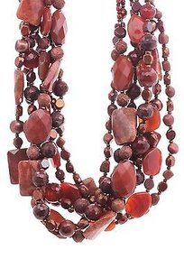 Jose & Maria Barrera Barrera Gold-tone Carnelian Gemstone Multi-strand Necklace