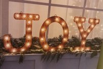 Joy Marquee Sign Lighted Rustic Winter Christmas Holiday Wedding Decor