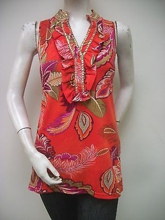 Joyous & Free Joyous Red Multi-color Beaded Tank Top Floral Print on sale