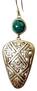 JS Collections Green/Blue Turquoise In Aztec Style Sterling Silver Earrings
