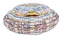Judith Leiber Blue Pink Sequined Shell Minaudiere Multi-Color Clutch