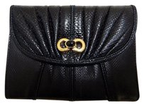 Judith Leiber Judith Leiber Black Karung Leather Black Onyx Stone Cc Wallet