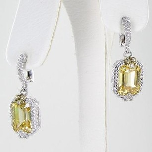 Judith Ripka Judith Ripka Estate Earrings Canary White Sapphires 18k Yellow Gold 925