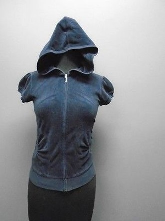 Juicy Couture Blue Velour Full Zipper Cap Sleeved Hooded Jacket 4676a lovely