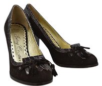 Juicy Couture Womens Classic Suede Leather Block Heels Brown Pumps