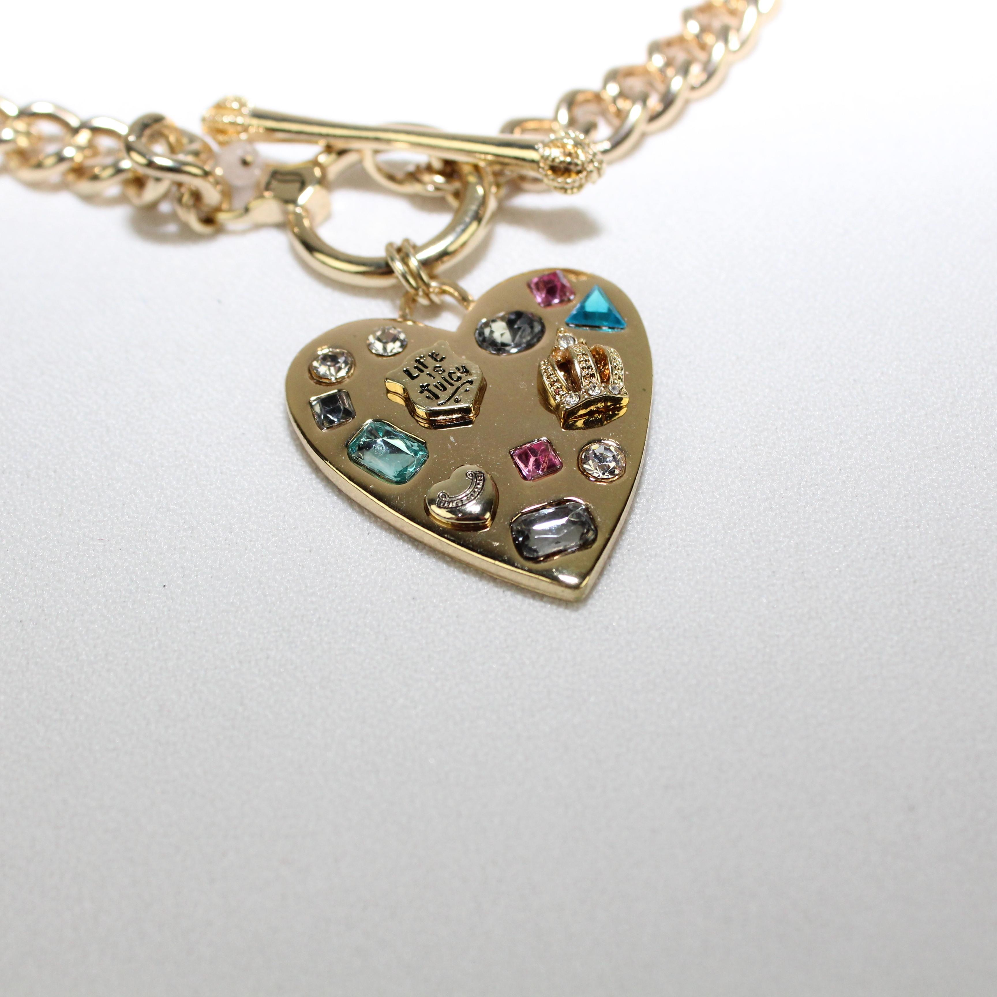 juicy couture golden tone heart charm necklace tradesy