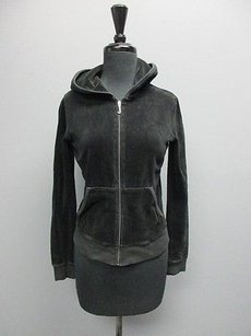 Juicy Couture Juicy Couture Black Velour Zipper Long Sleeves Hooded Track Jacket Sm10040