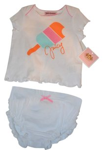 Juicy Couture Juicy Couture Girl's 6-9 Month T-shirt Popsicle Ruffled Diaper Set BNWT