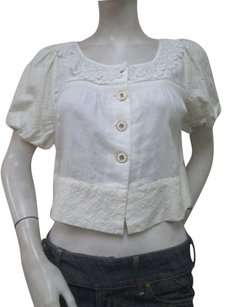 Juicy Couture Juicy Couture Ivory Cropped Soft Woven Jacket Jgmu0342 Lace Trim