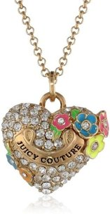 Juicy Couture Juicy Couture Rare Gold Pave Heart Neon Flowers Long Necklace Yjru7823