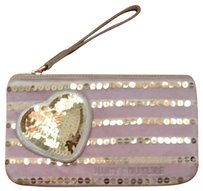 Juicy Couture Juicy Couture Wristlet Purse Bag Pink Gold Sequins 3D Heart