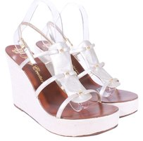 Juicy Couture Leather Cage Platform GOLD Wedges