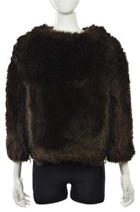 Juicy Couture Womens Poncho Faux Fur Casual Sweater