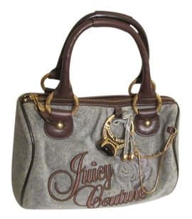 Juicy Couture Signature Monogram Leather Satchel in Gray and Brown trimmed