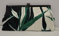 Julie Brown Green Palm Springs Frame Closure Silk 80296dw Multi-Color Clutch