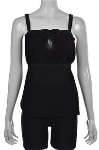 Just Cavalli Womens Sleeveless Silk Metallic Shirt Top Black