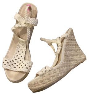 JustFab Cream Wedges