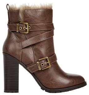 JustFab Fur Brown Bronze Chunky JUSTFAB Brown Boots