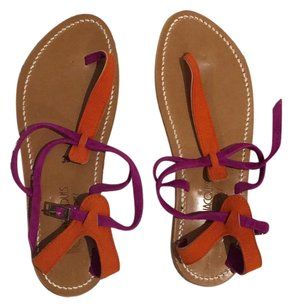 K. Jacques Purple-Pink and Orange Sandals