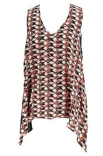 Karen Kane Geometric Womens Silk Top pink