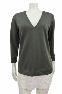 Karen Zambos Army V Neck Top green cream