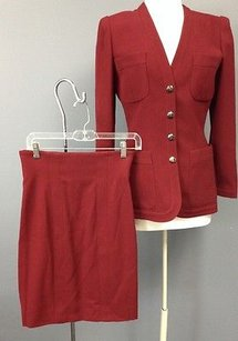 Karl Lagerfeld Lagerfeld Red Wool Blend Lined Side Zip Skirt And Blazer Suit Set Sma 2945