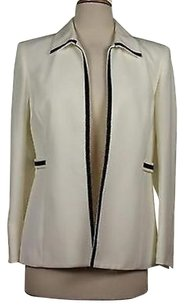 Kasper Kasper Womens Petites White Black Blazer Long Sleeve Jacket
