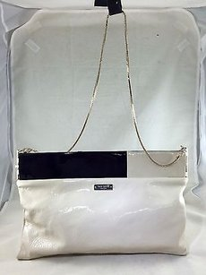 Kate Spade Brynn Block Patent W Chain Strap Cream/ Black Clutch