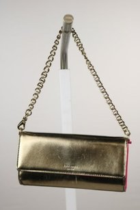 Kate Spade Womens Leather Metallic Handbag Gold Clutch