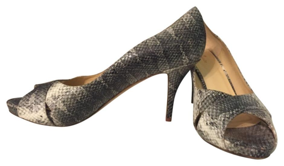 Kate Spade New York Billie Gray Shadow Snake Print Heel Pump 10.5 M Peep Toe