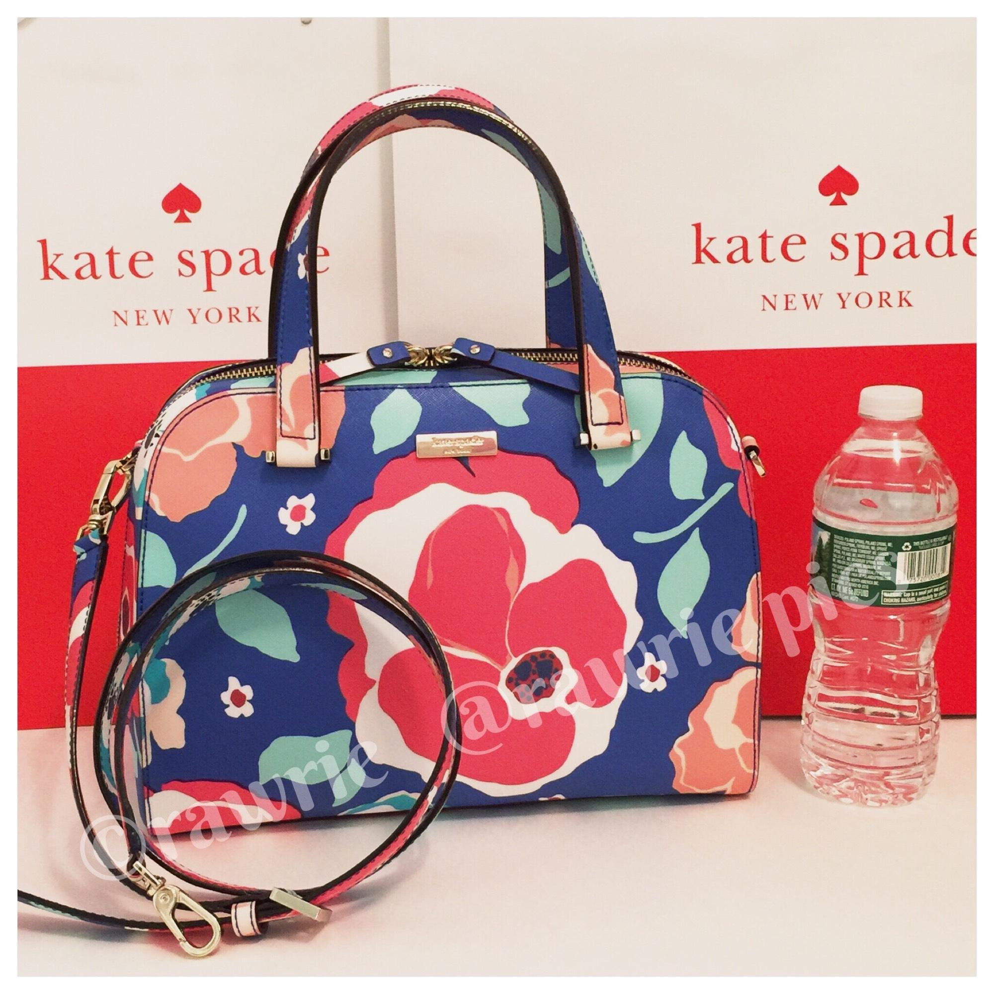 Kate Spade Newbury Lane Felix Cherry Floral Blue Multicolor Vinyl Cross Body Bag - Tradesy