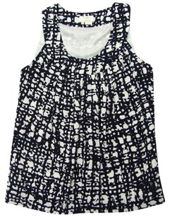 Kate Spade Print Crepe Edgy Textured Top Black, White