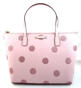 Kate Spade Leather Hani Haven Lane Glitter Dots Tote Satchel in Pink
