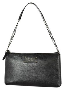 Kate Spade Womens Pewter Leather Metallic Handbag Shoulder Bag