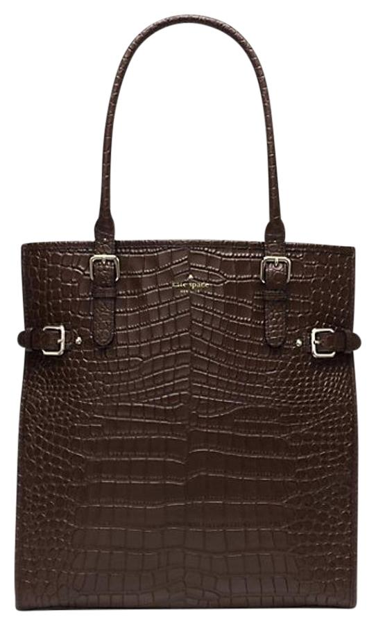 Kate Spade Vanston Croc Jackson Msrp Brown Leather Tote Tradesy