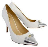 Kate Spade White Silver Pointed Toe Pumps
