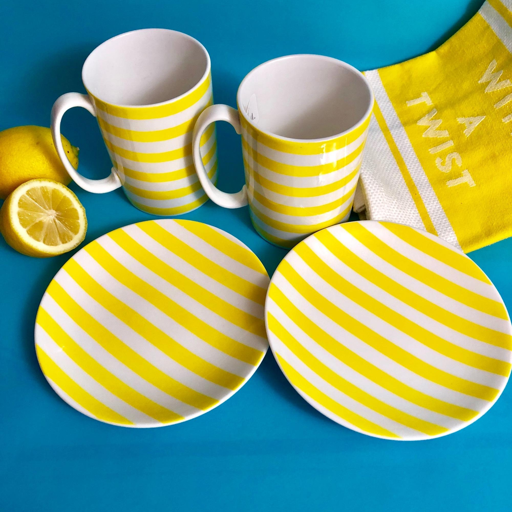 123456 & Kate Spade Yellow and Blue \u201cwith A Twist\u201d Mugs Tidbit Plates Fine ...