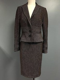 Kay Unger Kay Unger Brown Pink Wool Pinstripe Blazer And Pencil Skirt Suit Sma4726